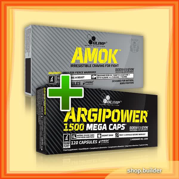 Olimp Sport Nutrition Amok + Argipower 1500 Mega Caps 60+120 kap.