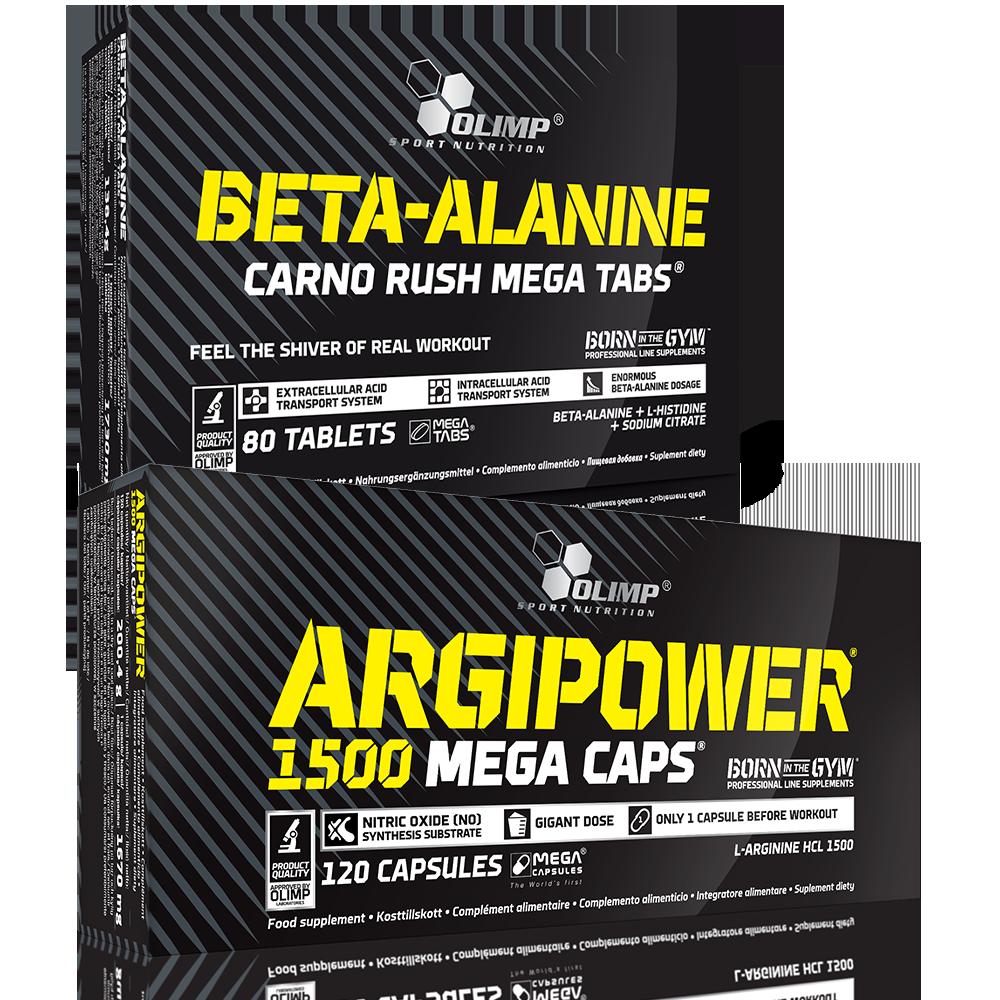 Olimp Sport Nutrition Argipower 1500 Mega Caps + Beta Alanine Carno Rush set