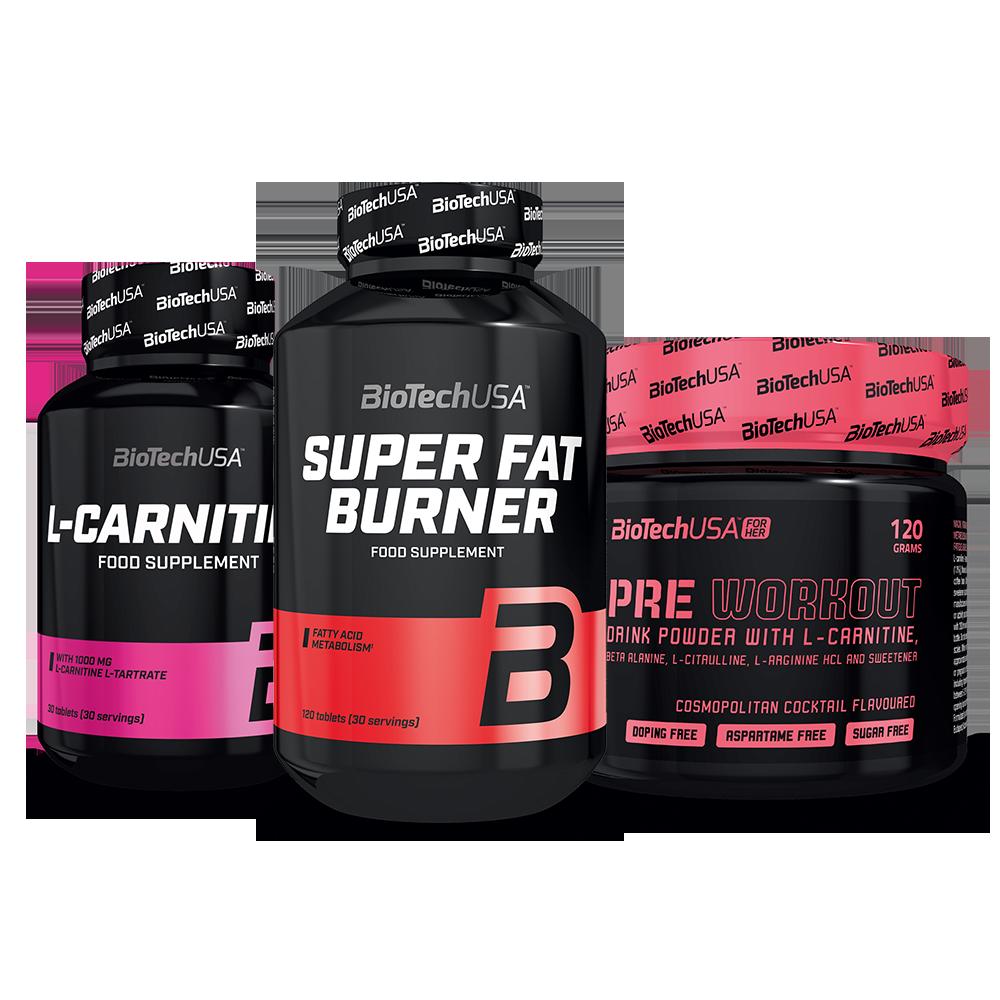 BioTech USA Super Fat Burner+L-Carnitine 1000+Pre Workout for Her set